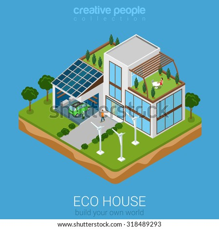 Flat 3d isometric green eco friendly house concept for Build your own 3d house