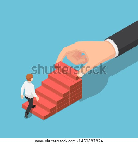 Flat 3d isometric hand arranging wood block stacking as step stair to help businessman go up higher. Business growth success and teamwork concept.