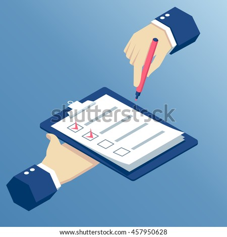 Flat 3d isometric hands holding clipboard with checklist and marker, business isometric illustration