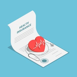 Flat 3d isometric heart and stethoscope on health insurance contract document. Healthcare medical insurance business concept.