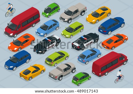Flat 3d isometric high quality city transport car icon set. Sedan, van, cargo truck, off-road,  bike, mini and sport cars. Urban public and freight vehihle. For infographics, design and game