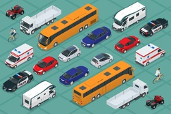 Flat 3d isometric high quality city transport car icon set. Urban public and freight vechicle. For infographics, design and game