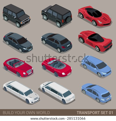 Flat 3d isometric high quality city transport icon set. Car sportscar SUV luxury high class sedan limousine limo convertible cabrio. Build your own world web infographic collection.