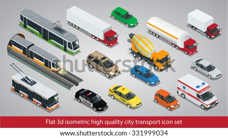 Flat 3d isometric high quality city transport icon set. Subway train, Building mixer, ambulance, Police, taxi, truck, trolleybus, safari travel car, Mini, tram, Oil Tanker.