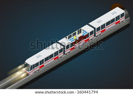 Flat 3d isometric high quality city transport icon set. Vector city Subway train collection. Vehicles designed to carry large numbers of passengers.