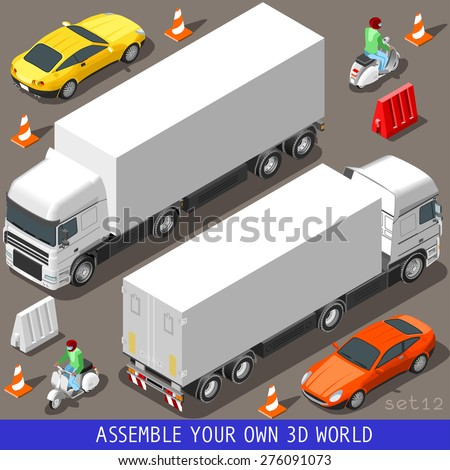 Flat 3d Isometric High Quality Vehicle Tiles Icon Collection. Truck  Articulated Lorry Coupe Car and  Motor Scooter with Delivery Man. 3d World Web Infographic Set.