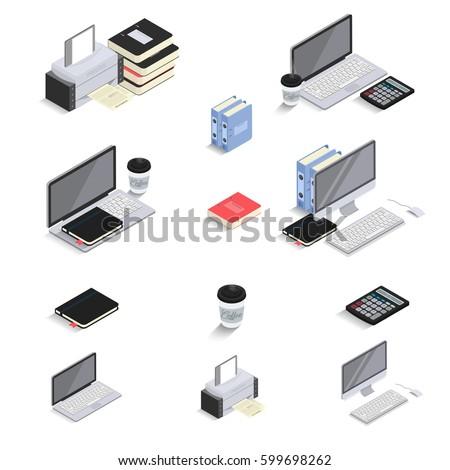 flat 3d isometric icons