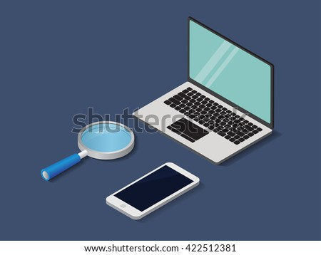 Flat 3d isometric labtop , phone and magnifier trendy style business, vector illustration