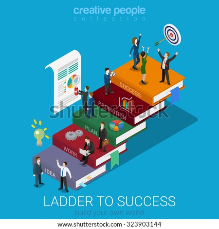 flat 3d isometric ladder to