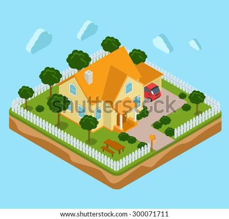 flat 3d isometric land island
