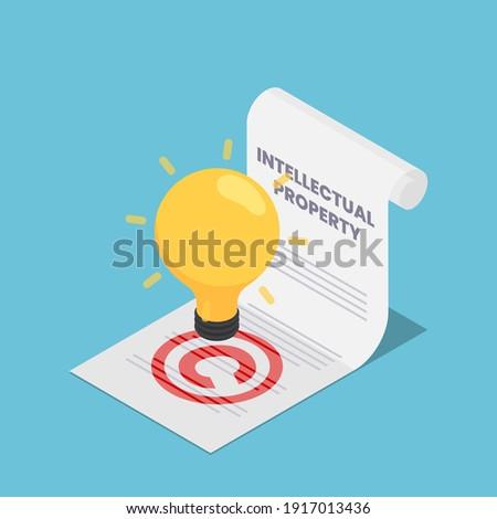 Flat 3d Isometric Light Bulb on Intellectual Property Document. Intellectual Property and Copyrights Concept Сток-фото ©