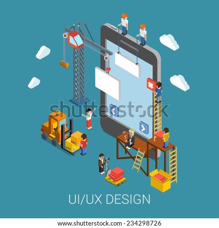 flat 3d isometric mobile ui ux