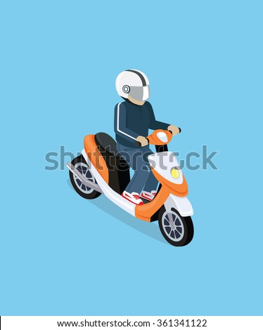 flat 3d isometric motorcyclist