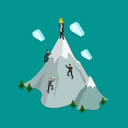 Flat 3d isometric mountain climb top winner trophy concept web infographics vector illustration. Creative people collection.