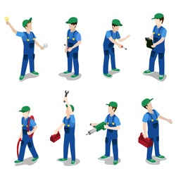 Flat 3d isometric plumber electrician mechanic car repair service worker icon set concept web infographics vector illustration. Creative people collection.