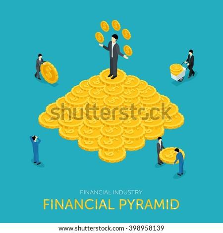 flat 3d isometric pyramid