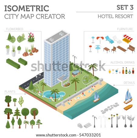 Flat 3d isometric resort hotel  and city map constructor elements such as building, beach, swimming pool, garden isolated on white. Build your own infographics collection. Vector illustration