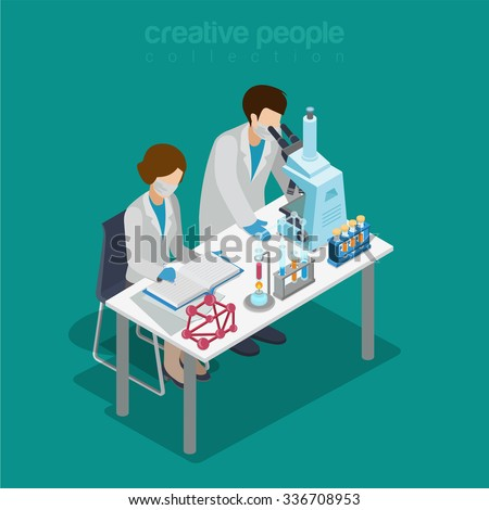 Flat 3d isometric science lab experiment research pharmaceutics chemical concept web infographics vector illustration. Couple scientist assistant microscope flask test tube. Creative people collection