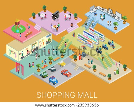 Flat 3d isometric shopping mall concept vector. City shopping center, boutique gallery indoor interior floors with walking shoppers. Sale, entertainment, multi-use, retail store business concept.