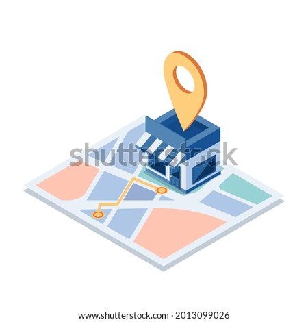 Flat 3d Isometric Shopping Store on The Map with Gps Navigation. GPS Navigation and Store Locations Concept.
