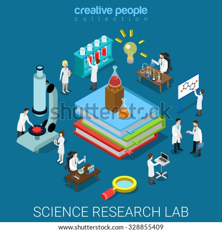 flat 3d isometric style science