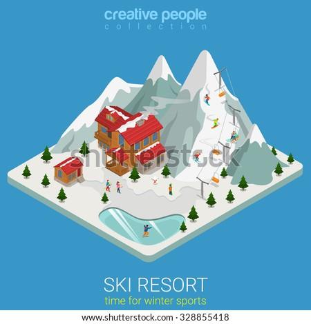 flat 3d isometric style ski