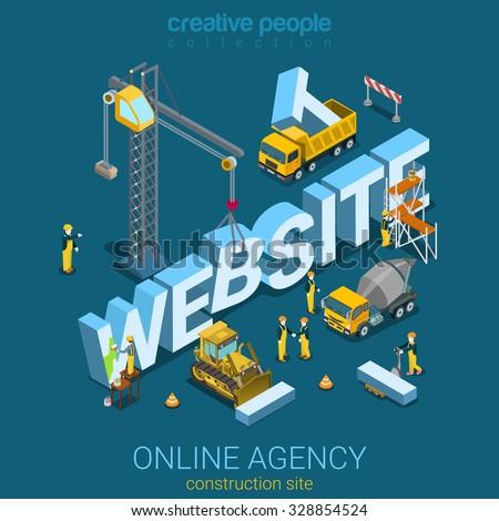 flat 3d isometric style website