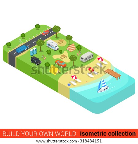 flat 3d isometric vacation