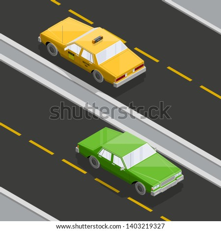 Flat 3D isometric yellow taxi cab model. City transport car traffic road. Sedan taxi motor car. Urban classic motor vehicle. Auto infographic traffic route. isometric automobile street