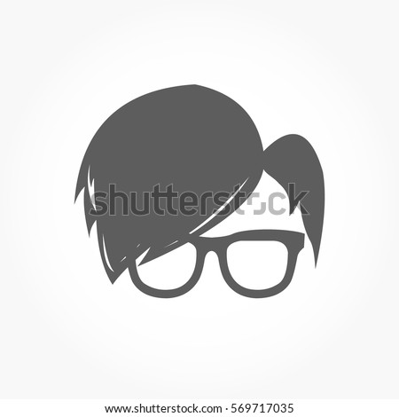 flat dark grey geek icon head with smooth hairstyle wearing eye glass with no eye balls