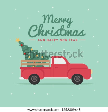 Flat deliver truck merry christmas background #1252309648