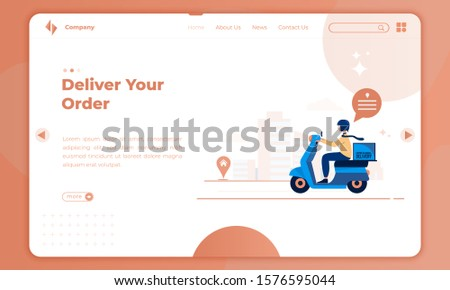 Flat design about deliver your order on landing page template, Illustration of driver with a scooter sending orders