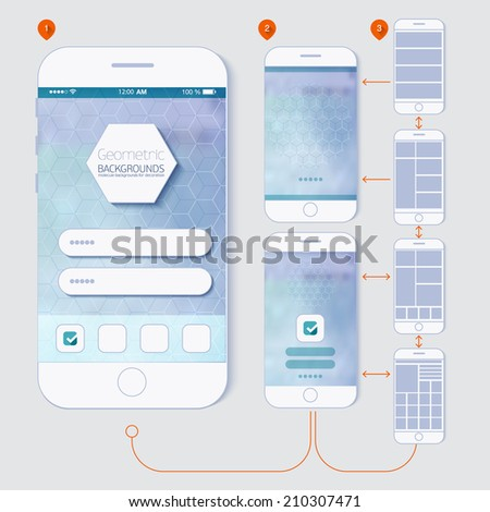 Flat design and ui web elements for mobile app and website. UI flat  web elements schematic diagram of the application development for you.
