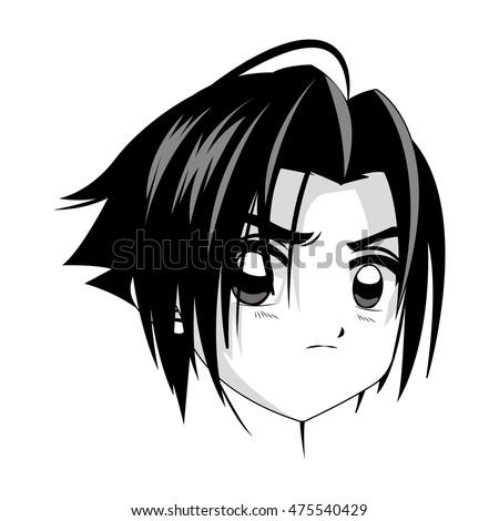 flat design anime style boy