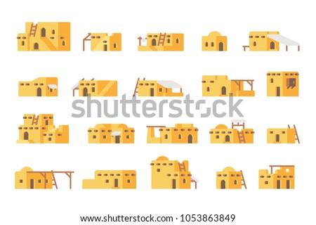 Flat design arab mud house set illustration vector