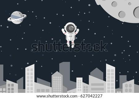flat design astronaut float in