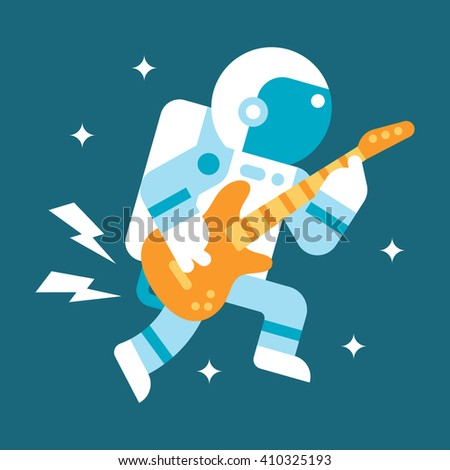 flat design astronaut playing