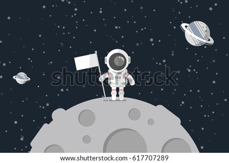 Flat design, Astronaut stand on the moon with a flag, Vector illustration, Infographic Element