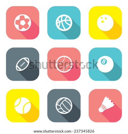 flat design ball icons