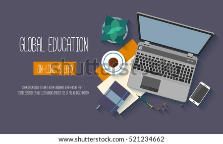Flat design baners for online education, training courses, e-learning, distance trainings. Vector illustration.