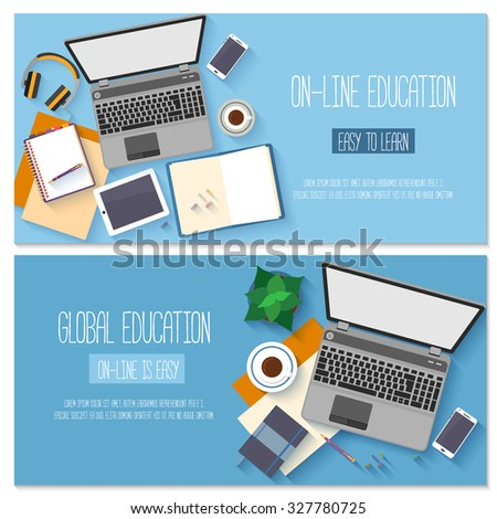 Flat design banners for online education, training courses, e-learning, distance trainings. Vector illustration.