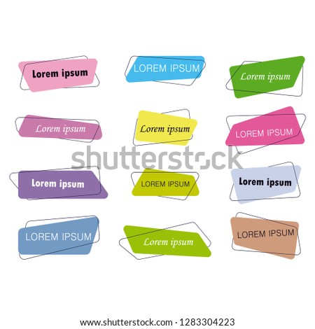 Flat Design Banners Ribbon White Background Label Modern Art #1283304223