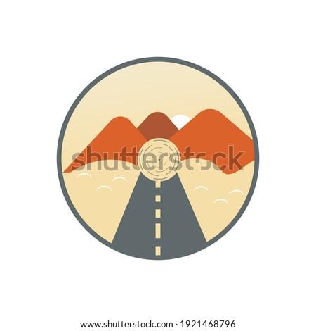 flat design beautiful mountain