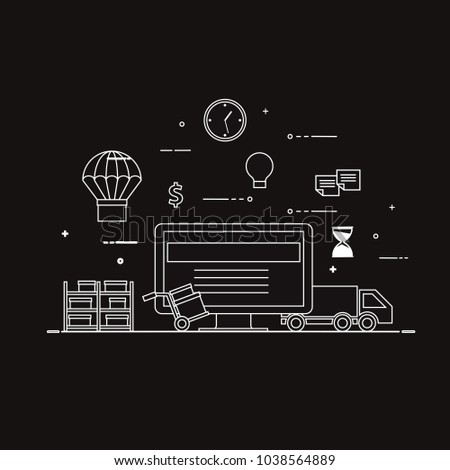Flat design black and white vector illustration concept for delivery service, e-commerce, online shopping, receiving package from courier to customer