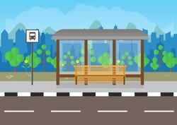 flat design Bus Stop with bench, city background, tree, blue sky with clouds