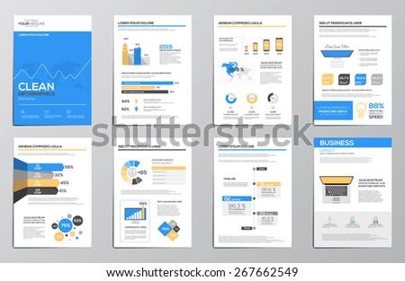 Flat Design Business infographics elements for corporate brochures.  Vector