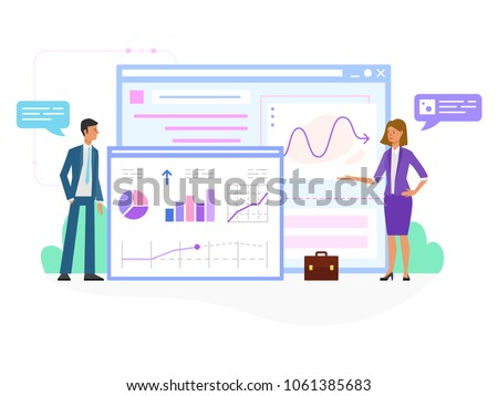 Flat design business people concept with woman and man. Vector illustration concept for web banner, business presentation, advertising material. - Shutterstock ID 1061385683