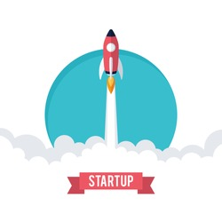 Flat design business startup launch concept, rocket icon