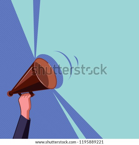Flat design business Vector Illustration concept Empty template copy space isolated Posters coupons promotional material Human Hand Holding Upward Megaphone with Volume Sound Range Pitch Power