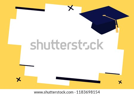 Flat design business Vector Illustration concept Empty template copy space text for Ad website esp isolated 3d isometric Graduation hat with Tassel Scholar Academic cap Headgear for Graduates